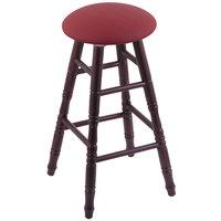 Holland Bar Stool XRC24OTDCALWINE Big & Tall 24 inch Dark Cherry Oak Counter Height Stool With Allante Wine Swivel Seat And Turned Legs