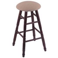 Holland Bar Stool XRC24OTDCREITHA Big & Tall 24 inch Dark Cherry Oak Counter Height Stool With Rein Thatch Swivel Seat And Turned Legs