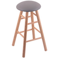 Holland Bar Stool XRC24OSNATALMDGR Big & Tall 24 inch Natural Oak Counter Height Stool With Allante Medium Grey Swivel Seat And Smooth Legs