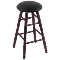 Holland Bar Stool XRC24OTDCBLKVINYL Big & Tall 24 inch Dark Cherry Oak Counter Height Stool With Black Vinyl Swivel Seat And Turned Legs