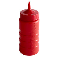 Vollrath 4916-02 Traex® 16 oz. Red Single Tip Ridged Wide Mouth Squeeze Bottle