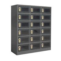 Winholt WL-618-DGT-EL Triple Column Eighteen Door Smart Locker with Perforated Doors and Electrical Outlets - 39 inch x 15 inch x 45 inch