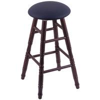 Holland Bar Stool XRC24OTDCALDKBL Big & Tall 24 inch Dark Cherry Oak Counter Height Stool With Allante Dark Blue Swivel Seat And Turned Legs