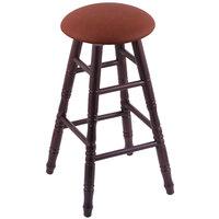 Holland Bar Stool XRC24OTDCREIADO Big & Tall 24 inch Dark Cherry Oak Counter Height Stool With Rein Adobe Swivel Seat And Turned Legs