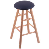 Holland Bar Stool XRC24OSNATALDKBL Big & Tall 24 inch Natural Oak Counter Height Stool With Allante Dark Blue Swivel Seat And Smooth Legs