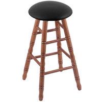Holland Bar Stool XRC24OTMEDBLKVINYL Big & Tall 24 inch Medium Oak Counter Height Stool With Black Vinyl Swivel Seat And Turned Legs