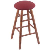 Holland Bar Stool XRC24OTMEDALWINE Big & Tall 24 inch Medium Oak Counter Height Stool With Allante Wine Swivel Seat And Turned Legs