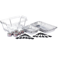 Choice 240 Piece Full Size Disposable Buffet Serving Set / Chafer Dish Kit with Serving Utensils and Wick Fuel