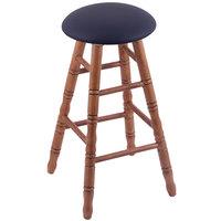 Holland Bar Stool XRC24OTMEDALDKBL Big & Tall 24 inch Medium Oak Counter Height Stool With Allante Dark Blue Swivel Seat And Turned Legs