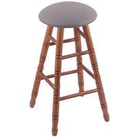 Holland Bar Stool XRC24OTMEDALMDGR Big & Tall 24 inch Medium Oak Counter Height Stool With Allante Medium Grey Swivel Seat And Turned Legs
