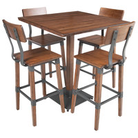 Lancaster Table & Seating 36 inch x 36 inch Solid Wood Live Edge Bar Height Table and 4 Barstools with Antique Walnut Finish