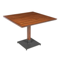 Lancaster Table & Seating 36 inch x 36 inch Solid Wood Live Edge Dining Height Table with Antique Walnut Finish