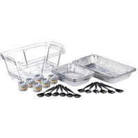 Choice 30 Piece Full Size Disposable Buffet Serving Set / Chafer Dish Kit with Serving Utensils and (6) 2 Hour Wick Fuel Cans