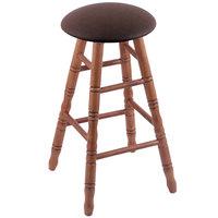 Holland Bar Stool XRC24OTMEDREICOF Big & Tall 24 inch Medium Oak Counter Height Stool With Rein Coffee Swivel Seat And Turned Legs