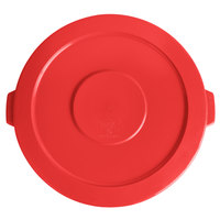 Lavex Janitorial 44 Gallon Red Round Commercial Trash Can Lid