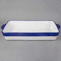 Tuxton EAC-201 DisplayTux 6.25 Qt. Cobalt Band Rectangular Casserole Dish - 2/Case