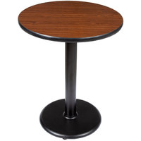 Lancaster Table & Seating Standard Height Table with 24 inch Round Reversible Walnut / Oak Table Top and Round Base Plate