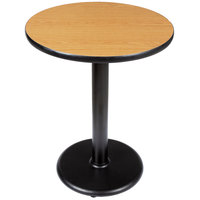 Lancaster Table and Seating Standard Height Table with 24 inch Round Reversible Walnut / Oak Table Top and Round Base Plate