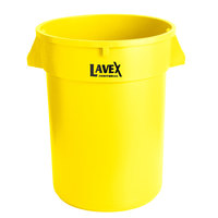 Lavex Janitorial 32 Gallon Yellow Round Commercial Trash Can