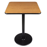 Lancaster Table and Seating Bar Height Table with 30 inch x 30 inch Reversible Walnut / Oak Table Top and Round Base Plate