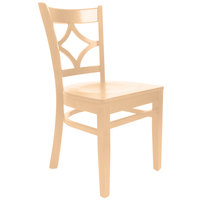 Lancaster Table & Seating Natural Finish Wooden Diamond Back Cafe Chair