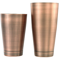Mercer Culinary M37009ACP Barfly 28 oz. & 18 oz. 2-Piece Antique Copper-Plated Finish Stainless Steel Shaker Tin Set
