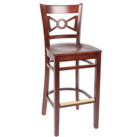 Lancaster Table & Seating Mahogany Finish Wooden Bow Tie Back Bar Height Chair