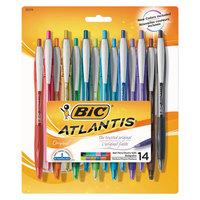 Bic VCGAP141AST Atlantis Assorted Color 1 mm Medium Point Retractable Ballpoint Pen - 14/Pack