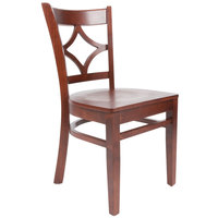 Lancaster Table & Seating Mahogany Finish Wooden Diamond Back Cafe Chair