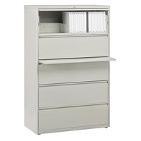 Hirsh Industries 17640 Gray Five-Drawer Lateral File Cabinet with Roll Out Binder Storage - 36 inch x 18 5/8 inch x 67 5/8 inch