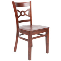 Lancaster Table & Seating Mahogany Finish Wooden Bow Tie Back Cafe Chair