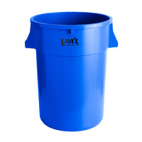 Lavex Janitorial 44 Gallon Blue Round Commercial Trash Can