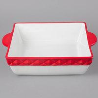 Tuxton EAQ-401 DisplayTux 3.25 Qt. Cayenne Band Square Casserole Dish - 2/Case