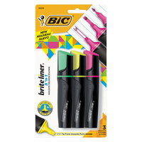 BIC BL3P31AST Brite Liner Assorted Color 3 in 1 Tip Highlighter