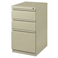 Hirsh Industries 18574 Putty Mobile Pedestal Letter File Cabinet with 2 Box Drawers and 1 File Drawer - 15 inch x 19 7/8 inch x 27 3/4 inch