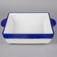 Tuxton EAC-401 DisplayTux 3.25 Qt. Cobalt Band Square Casserole Dish - 2/Case
