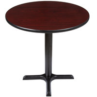 Lancaster Table and Seating Standard Height Table with 30 inch Round Reversible Cherry / Black Table Top and Cross Base Plate