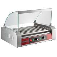 Grand Slam 24 Hot Dog Roller Grill with 9 Rollers and Sneeze Guard - 110V, 1350W