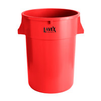 Lavex Janitorial 44 Gallon Red Round Commercial Trash Can