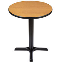 Lancaster Table and Seating Standard Height Table with 24 inch Round Reversible Walnut / Oak Table Top and Cross Base Plate