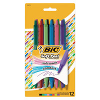 Bic SCSMAP121AST Soft Feel Assorted Color Medium Point Retractable Ballpoint Pen   - 12/Pack