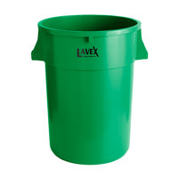 Lavex Janitorial 44 Gallon Green Round Commercial Trash Can