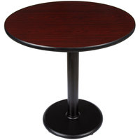 Lancaster Table and Seating Standard Height Table with 30 inch Round Reversible Cherry / Black Table Top and Round Base Plate