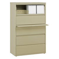 Hirsh Industries 17638 Putty Five-Drawer Lateral File Cabinet with Roll Out Binder Storage - 36 inch x 18 5/8 inch x 67 5/8 inch