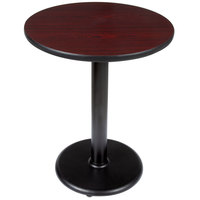 Lancaster Table and Seating Standard Height Table with 24 inch Round Reversible Cherry / Black Table Top and Round Base Plate