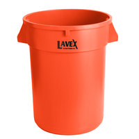 Lavex Janitorial 32 Gallon Orange Round Commercial Trash Can