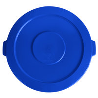 Lavex Janitorial 44 Gallon Blue Round Commercial Trash Can Lid
