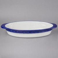 Tuxton EAC-101 DisplayTux 3.5 Qt. Cobalt Band Oval Casserole Dish - 2/Case