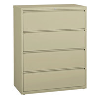 Hirsh Industries 17459 Putty Four-Drawer Lateral File Cabinet - 42 inch x 18 5/8 inch x 52 1/2 inch