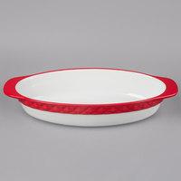Tuxton EAQ-101 DisplayTux 3.5 Qt. Cayenne Band Oval Casserole Dish - 2/Case